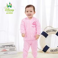 迪士尼Disney儿童衣服秋冬新款男女宝宝加厚保暖前开扣内衣套装174T700