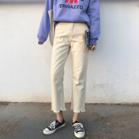 2018九分牛仔裤女春秋新款韩版显瘦chic不规则高腰宽松直筒阔腿裤