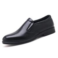 男士皮鞋男真皮透气中老年父亲男鞋商务正装休闲牛皮爸爸鞋子 黑色