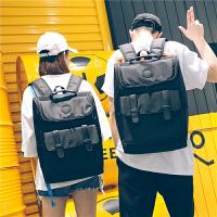 牛津布全防水电脑包背包双肩包男时尚潮流旅行包高中生书包女学生SN5757 黑色