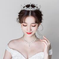 新娘头饰皇冠三件套2018新款森系仙美项链耳环王冠结婚礼服发饰品
