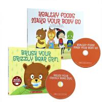 英文原版 刷牙习惯 健康饮食 有声书 Brush Your Grizzly Bear Grin teeth,Healthy Foods Make Your Body Go 2册+CD 趣味幽默绘本