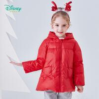 迪士尼Disney童装 甜美女宝羽绒服中长款保暖外套冬季新品米妮卡通印花上衣194S1149