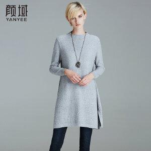 颜域品牌女装2017冬装新款圆领长袖宽松气质毛衫中长款针织衫女