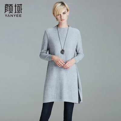 颜域品牌女装2017冬装新款圆领长袖宽松气质毛衫中长款针织衫女质感羊毛+兔毛面料,舒适自然