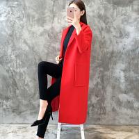 韩版秋冬新款优雅直筒中长款呢大衣宽松气质落肩袖毛呢外套女