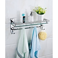 浴室卫生间单层不锈钢玻璃置物架带钩洗衣机置物架五金挂件