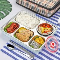 带盖食堂简约餐盘学生餐盒不锈钢保温饭盒分格便当盒