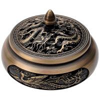 香炉铜家用创意盘香檀香炉室内净化空气茶道熏香香薰炉 +底座