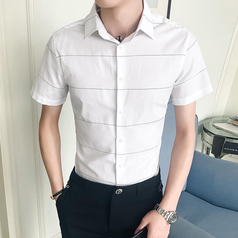 新款男士休闲短袖衬衫夏季气质潮流时尚韩版修身衬衣帅气45