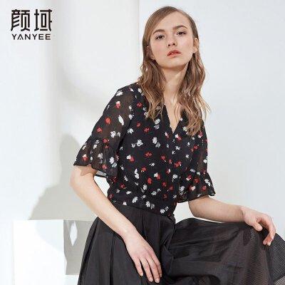 颜域雪纺衫女装夏装2018新款优雅喇叭袖碎花宽松雪纺上衣女士小衫