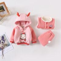 宝宝冬装三件套加绒卫衣婴儿秋冬套装女童0一1-3岁儿童加厚棉衣服