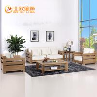 北欧篱笆定制实木沙发组合客厅家具纯榆木实木布艺沙发123组合