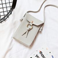 韩版新款小包包二层零钱手机袋单肩小包流苏斜挎手机包迷你女包潮 浅灰 301#六寸二层