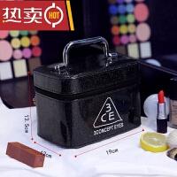 女化妆包大容量小号便携简约可爱洗漱品收纳盒大号化妆箱手提SN53 黑色 (小款)
