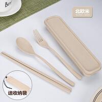 W 零食碗三合一小麦筷子勺子叉子套装便携餐具三件套学生儿童可爱创意筷子盒D12