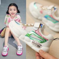 女童运动鞋2019新款儿童白色网面透气小女孩鞋子童鞋学生休闲网鞋