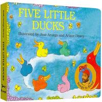 儿童英文原版绘本 五只小鸭子 纸板书 Five Little Ducks 0-3-6岁低幼宝宝英语学习启蒙童书 进口读物