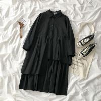 纯色宽松中长款翻领长袖连衣裙2020春装新款女装不规则衬衫式裙子
