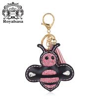 皇家莎莎蜜蜂钥匙扣送女友车用流苏挂饰女士水钻钥匙链时尚包挂件
