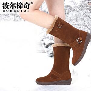 波尔谛奇冬新品磨砂中筒女雪地靴子加厚绒保暖棉鞋坡跟女靴子2099