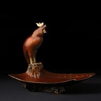 铜雕 客厅创意糖果盘摆件 纯铜金鸡酒柜茶几家居工艺礼品 送人装饰摆件 生肖 鸡 《大吉大利》铜鸡糖果盘