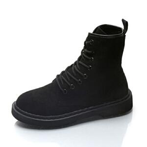 WARORWAR新品YM29-997冬季日系磨砂反绒低跟女士靴子马丁靴