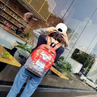 0605052659431港风书包男街头潮流女背包大学生韩版校园女士涂鸦双肩包 默认1