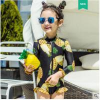 户外儿童连体泳装 链防晒可爱女童泳衣卡通菠萝印花高领长袖拉