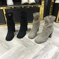 欧洲风格站2017冬季新款女鞋羊�S皮圆头加绒棉靴粗跟中筒马丁靴潮