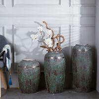 仿古做旧陶瓷花瓶摆件客厅插干花盆粗陶土陶罐复古坛子落地大花瓶