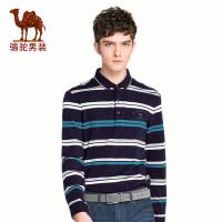 camel 骆驼男装 春季新款翻领长袖t恤男士撞色商务条纹休闲Polo上衣