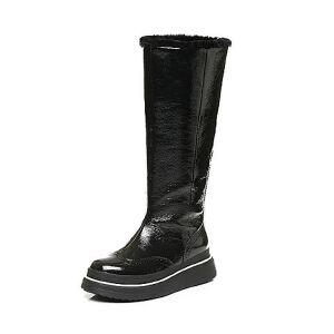 Belle/百丽冬季专柜同款皱漆超纤女休闲靴(半绒半毛)Q9L1DDG6