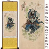 西游记人物丝绸卷轴画 沙僧客厅装饰画 人物挂画 人物定做 160*65 不加锦盒