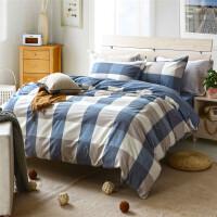 多喜爱纯棉水洗色织四件套经典条格床品套件极简主义