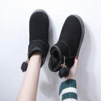 靴子女冬季加绒网红学生百搭雪地靴短筒平底棉鞋秋女短靴 黑 色