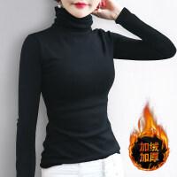 黑色高领加绒打底衫女士长袖修身保暖堆堆领棉T恤内搭厚