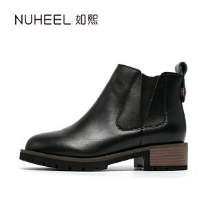 如熙 2017秋冬新款女靴 时尚V口松紧设计 牛二层皮女靴