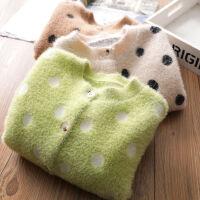 女童毛衣外套春秋款宝宝秋装时尚洋气儿童水貂绒针织开衫上衣