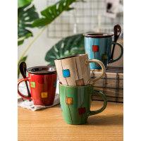 【支持礼品卡】创意鼓型陶瓷杯带盖带勺牛奶杯咖啡杯家用马克杯水杯子jj9