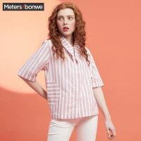 【狂欢返场,专区1件3折】美特斯邦威2018夏装新款短袖衬衫女复古条纹百搭系带领短袖衫潮8