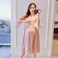 大码孕妇裙怀孕期孕妇装夏装上衣孕妇连衣裙夏季中长款宽松蕾丝