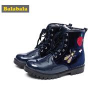 巴拉巴拉儿童靴子女童冬季鞋2018新款保暖短靴冬季鞋潮大童休闲鞋
