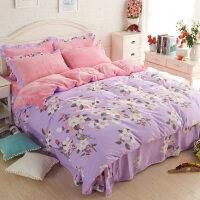 ???韩版法莱绒四件套加厚法兰绒保暖冬季水晶珊瑚绒被套床单床上用品