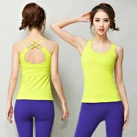 美背双线交叉瑜伽上衣女 新款女士瑜伽服显瘦健身房运动跑步背心上衣T恤