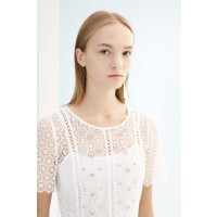 迪赛尼斯商场同款新款蕾丝中长裙收腰短袖优雅法式派对连衣裙