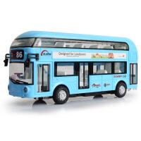 天鹰合金双层旅游巴士空调大巴城市公交车模型儿童回力声光玩具车,