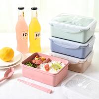 食堂简约日式分格保鲜餐盒饭盒便当盒微波炉塑料学生带盖