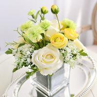 仿真花康乃馨玫瑰玻璃方樽套装绢花假花家居客厅装饰花瓶花艺摆件