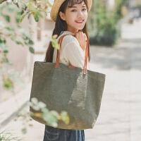 校园文艺帆布单肩手提包包学生时尚大容量新款纯色复古休闲包袋